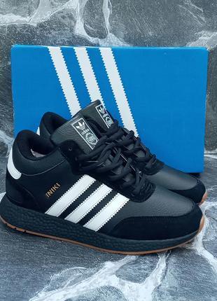 Мужские зимние кроссовки adidas iniki winter черные,кожаные,с ...