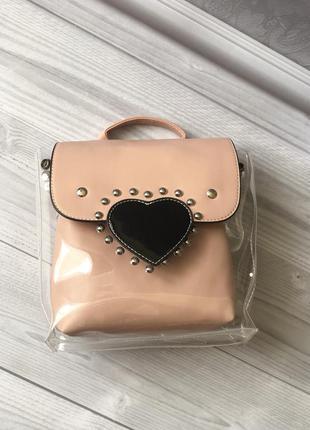 Рюкзак/розовый рюкзак/рюкзак с винилом/ прозрачный рюкзак