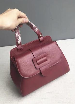 Кожаная женская сумочка с длинным ремешком, красная сумка