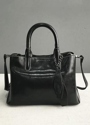 Кожаная черная сумка с длинной ручкой, женская вместительная с...