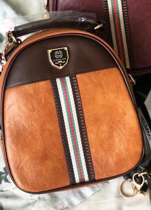 Коричневый рюкзак женский, стильный городской рюкзак, рюкзак-с...