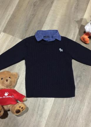 Шикарный свитерок с имитацией рубашки-прелесть!!!