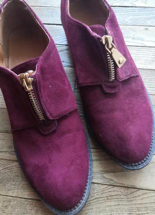 Туфли бордовые, замша, искусственная замша