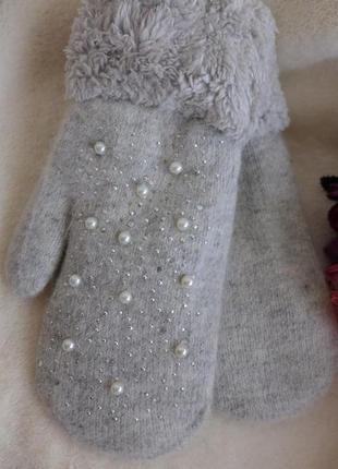 Варежки женские шерсть разные цвета очень теплые