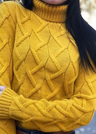 Вязанный шерстяной свитер гольф водолазка  цвета в наличии