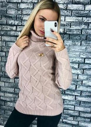Вязанный шерстяной свитер гольф водолазка   цвета  пудра