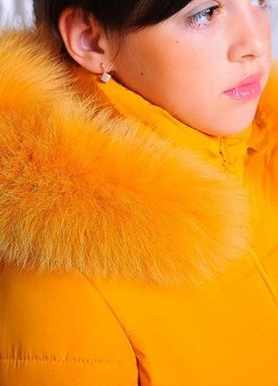 "Зимняя куртка для девочки ""Бант"" горчица"