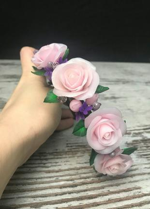 Ободок, обруч, диадема, корона для волос розовые розы