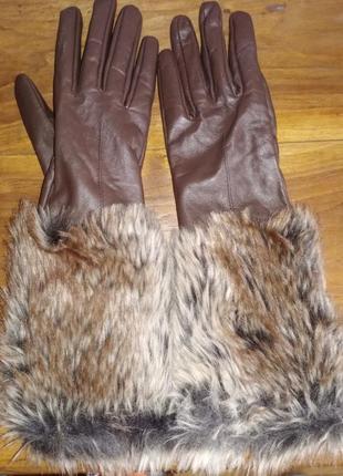 Длинные кожаные перчатки atmosphere с меховым манжетом