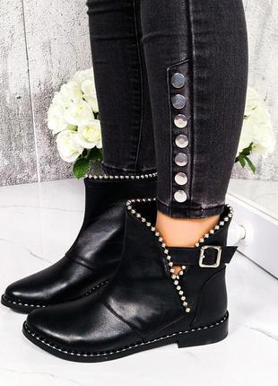 ❤ женские черные зимние  натуральные кожаные ботинки ботильоны ❤
