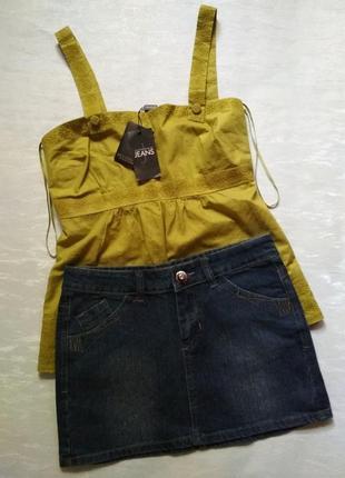 Летняя темно-синяя женская джинсовая мини-юбка Taili