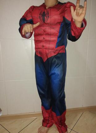 Карнавальный костюм детский спайдермен человек паук с мускулам...