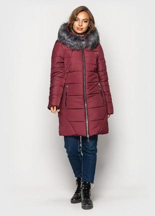 Теплая зимняя удлиненная женская куртка
