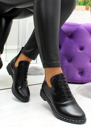 Модные черные женские туфли ботинки на низком ходу из натураль...