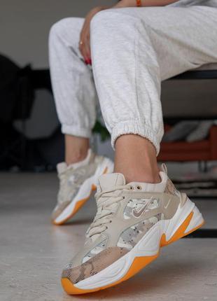 Стильные крутые женские кроссовки nike m2k tekno beige camo