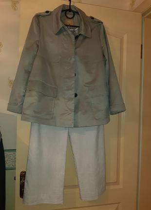 Костюм брюки лен и ветровка-пиджак на подкладке(весна осень)