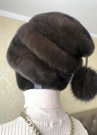 Норковая шапка, цвет шоколад