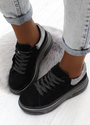 Демисезонные натуральные замшевые кроссовки/ботинки на флисе. ...