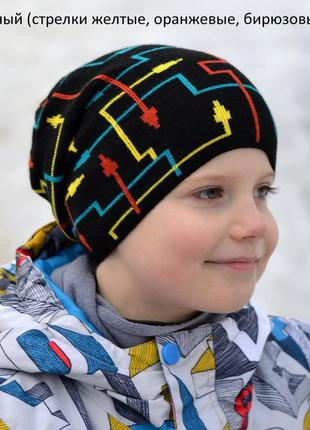 Детская плотная демисезонная шапка для мальчика от 5 лет 52 54...