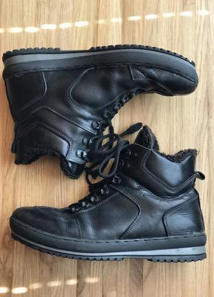 Мужские зимние кожаные ботинки на цигейке, 42