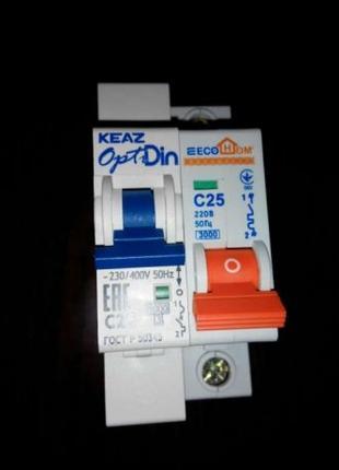Выключатель автоматический модульный optidin bm63-1 c25