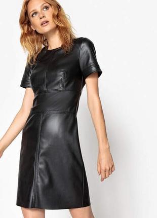 Кожаное силуэтное платье, натуральная кожа замша, нубук,