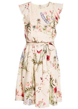 Платье для кормящих мам из воздушной ткани с рисунком и оборка...