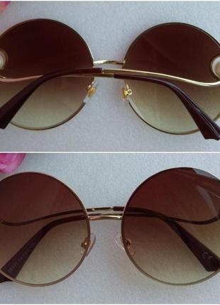 New! новые модные очки круглые с бусинами, коричневые