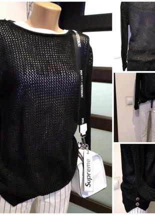 Стильный брэндовый черний джемпер свитер кофта свитшот сетка