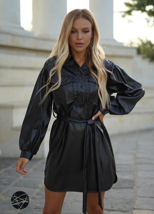 Кожаное платье-рубашка с поясом, размер l