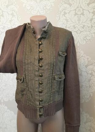 Комбинированная кофта, свитер хаки, размер l-xl