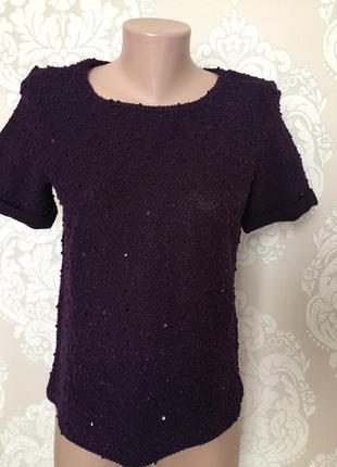 Фиолетовая блуза/ кофточка с коротким рукавом, бренд срезан
