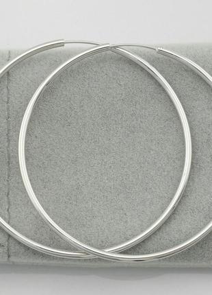 Серьги-кольца,  размер 47*2 мм, , позолота белое золото