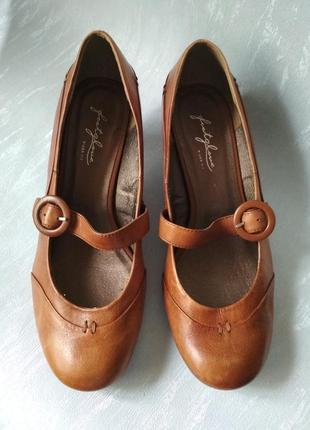 Удобные кожаные светло-коричневые туфли FOOTGLOVE Wider Fit