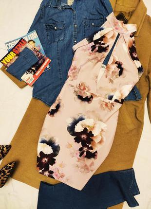 Платье розовое пудровое цветочное style damour