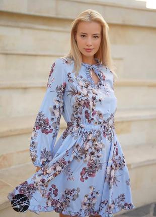 Платье в цветочный принт s-m