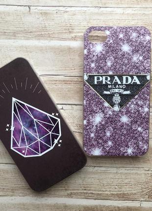 Чехол iphone 4/4s пластиковый пластик prada. цена за 2 шт.