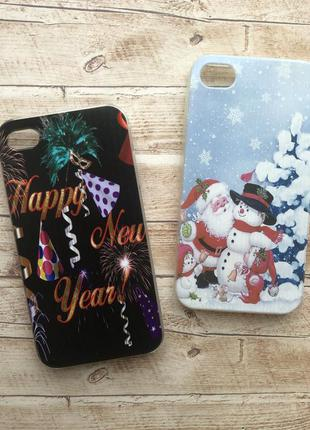 Чехол новогодний iphone 4/4s пластиковый силиконовый пластик с...