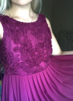 Платье с открытой спиной, асимметрия сзади длиннее вышивка спе...
