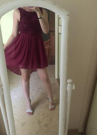 Платье с открытой спиной, асимметрия вышивка коктейльное шлейф