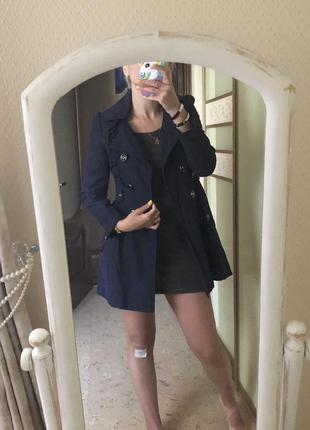 Плащ-пальто с воланом а-силуэт темно-синие тренч