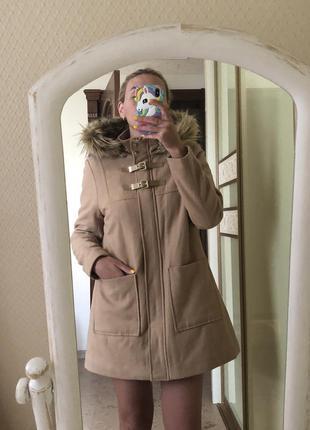 Дафлкот бушлат пальто с большими карманами и капюшоном на меху