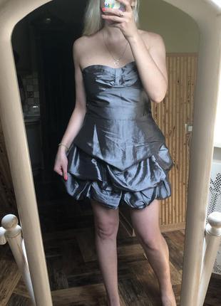 Платье бюстье металлик с пышной юбкой баллон мини праздничное ...