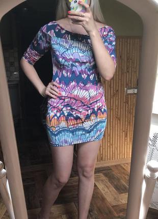 Платье дайвинг мини с рукавом разноцветное next