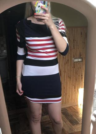 Полосатое платье с рукавом plume мини короткое