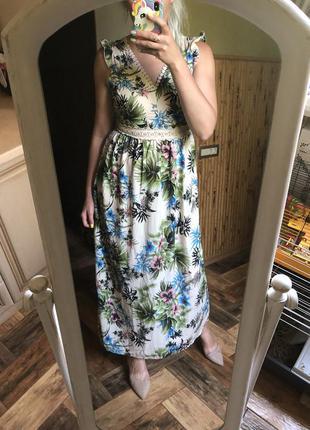 Платье vogue с открытой спиной руши макси длинное тропики цвет...