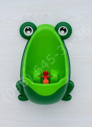 Детский тренировочный писсуар Лягушка зеленый+скотч для крепления