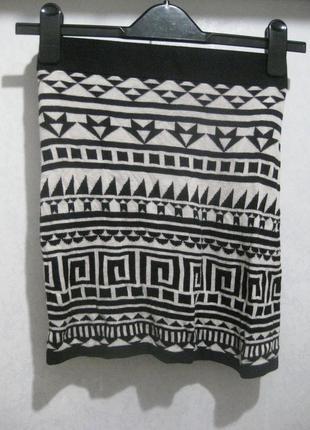 Мини юбка h&m короткая чёрная белая узор орнамент в обтяжку об...