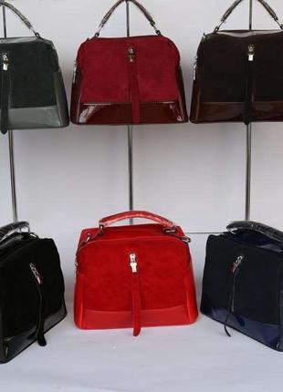 Женская кожаная сумка, сумка из натуральной кожи и замши