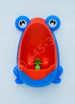 Детский тренировочный писсуар Лягушка голубой+скотч для крепления
